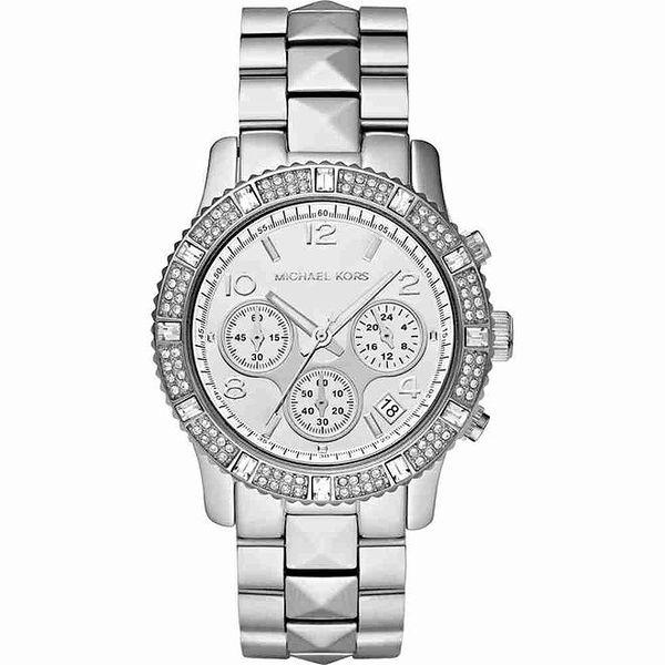 Dámské ocelové hodinky s bílými krystalky Michael Kors
