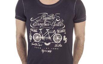 Pánské černé tričko s potiskem kola SixValves