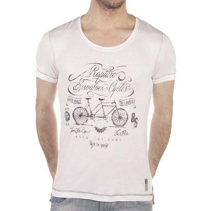 Pánské bílé tričko s potiskem kola SixValves