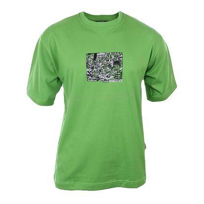 Pánské sytě zelené tričko s potiskem na hrudi Respiro