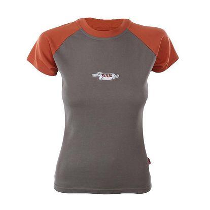 Dámské khaki-oranžové tričko s jezevčíkem Respiro