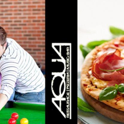 Celé 2 hodiny KULEČNÍKU + obrovská PIZZA o průměru 50 cm za fantastických 135 Kč! Tomu zkrátka nelze odolat! Vyberte si až ze 7 druhů pizz a užijte si s přáteli 120 minut kulečníku! Báječná sleva 55%!