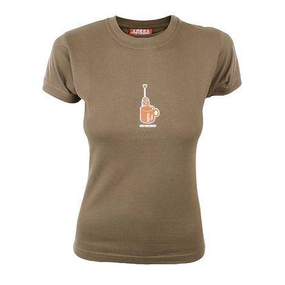 Dámské světle hnědé tričko s potiskem hrníčku Respiro