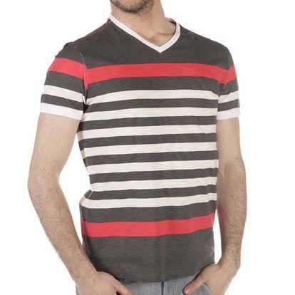 Pánské šedo-červeno-béžové pruhované tričko SixValves