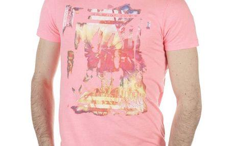Pánské růžové tričko s pastelovým potiskem SixValves