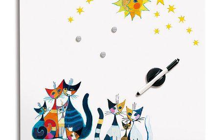 Poznámková tabule - Kočky a slunce - bílá