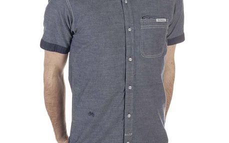Pánská modrá košile bez límečku SixValves