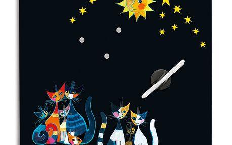 Poznámková tabule - Kočky a slunce - černá