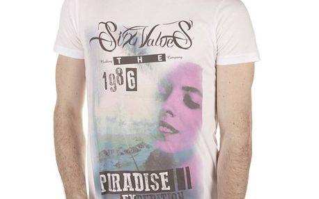 Pánské bílé tričko s barevným potiskem SixValves