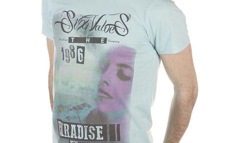 Pánské světle modré tričko s pastelovým potiskem SixValves