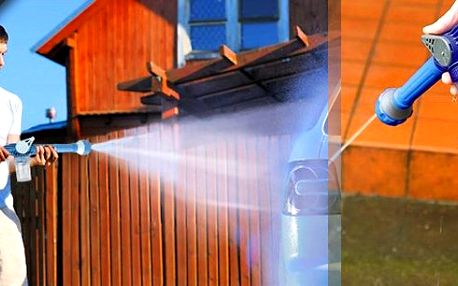 Skvělý multifunkční pomocník - tlakový nástavec se zabudovanou nádobkou pro saponáty a čistící prostředky.Perfektní na mytí aut, mytí oken, zalévání zahrady, čištění dlaždic, atd..