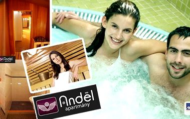 Užijte si 90 minut v relax centrum v Anděl apartmány. Luxusní 4-metrová vířivka zajistí hydromasáž nebo příjemný relax v perličkové koupeli a finská sauna z cedrového dřeva zas uspokojí příznivce saunování a jiné...