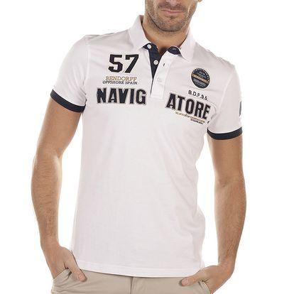 Pánské bílé polo triko s výšivkami Bendorff