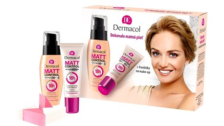 Kazeta dokonale matná pleť - Matt Control make-up odstín 02 30ml+Make-up base 30ml+houbičky na make-up