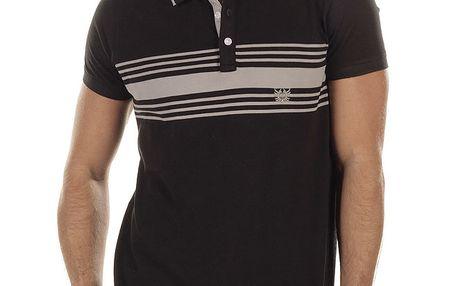 Pánské černé polo triko s proužky Bendorff