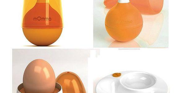 mOmma sada oranžová -vidlička+lyžička+talíř+obal na vejce