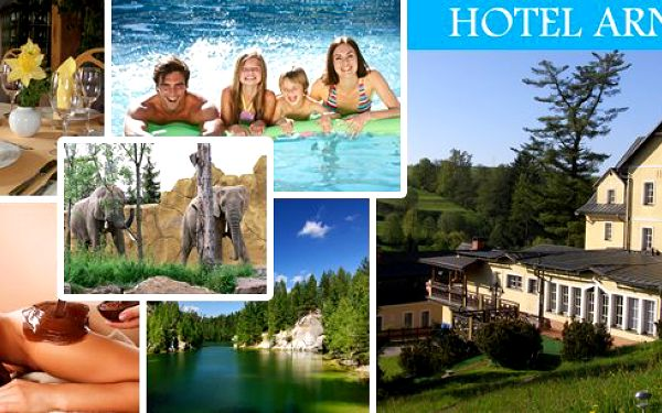 Pobyt pro 2 osoby v hotelu Arnikav nádherném prostředí Krkonoš na3 nebo 6 dní s bohatou polopenzí.Čokoládové fondy s ovocem,vyhřívaný bazén s protiproudem, sauna, parafín, oxygenoterapie,nordic walking, petanque ...každý si přijde na své!