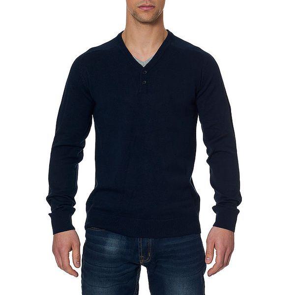 Pánský tmavě modrý svetr s loketními nášivkami Paul Stragas