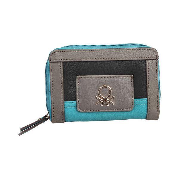 Dámská menší šedotyrkysová peněženka Benetton