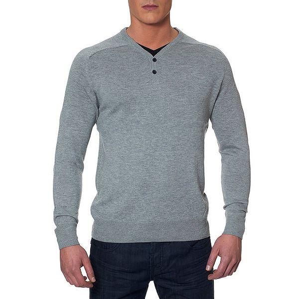 Pánský šedý svetr s loketními nášivkami Paul Stragas