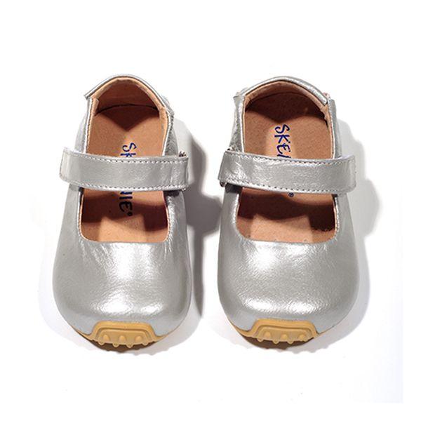 Kožené stříbrné botičky s páskem
