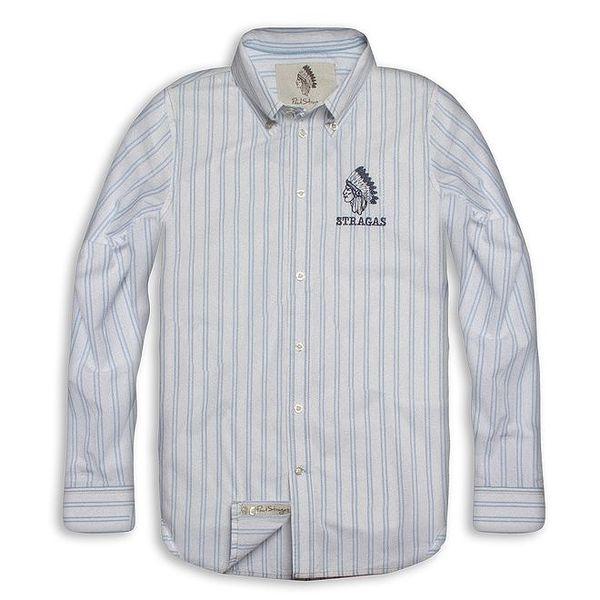 Pánská bílo-modrá pruhovaná košile Paul Stragas
