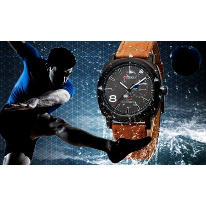 Módní hodinky s koženým páskem na sport i potápění