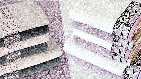 Sady ručníků a osušky s elegantními vzory