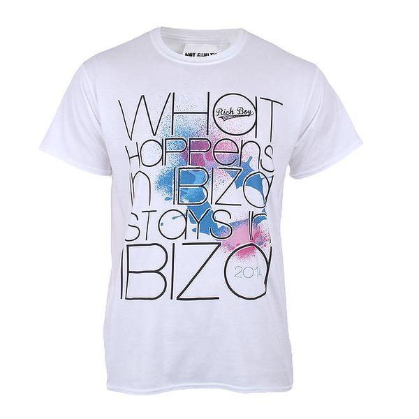 Pánské bílé tričko s nápisem Not Guilty Rich Boy