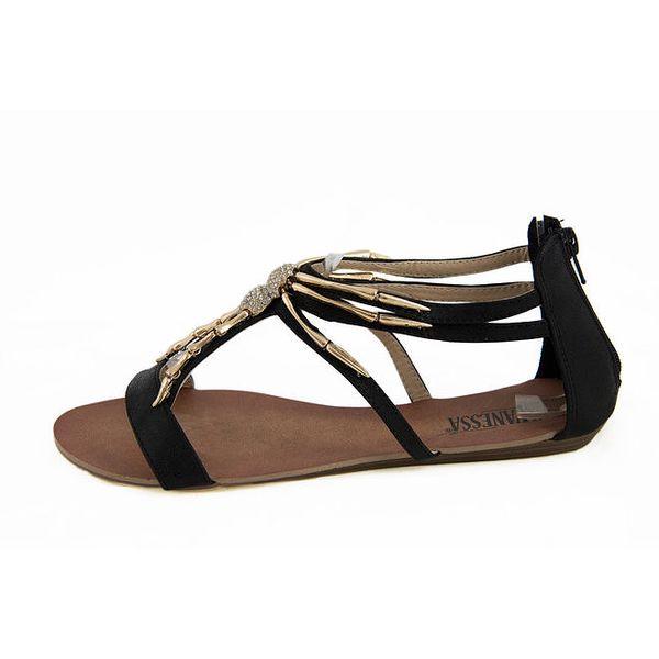 Dámské černé sandálky se zlatou ozdobou Vanessa