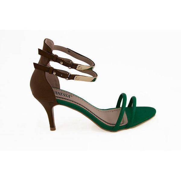 Dámské hnědo-zelené páskové sandálky Vanessa