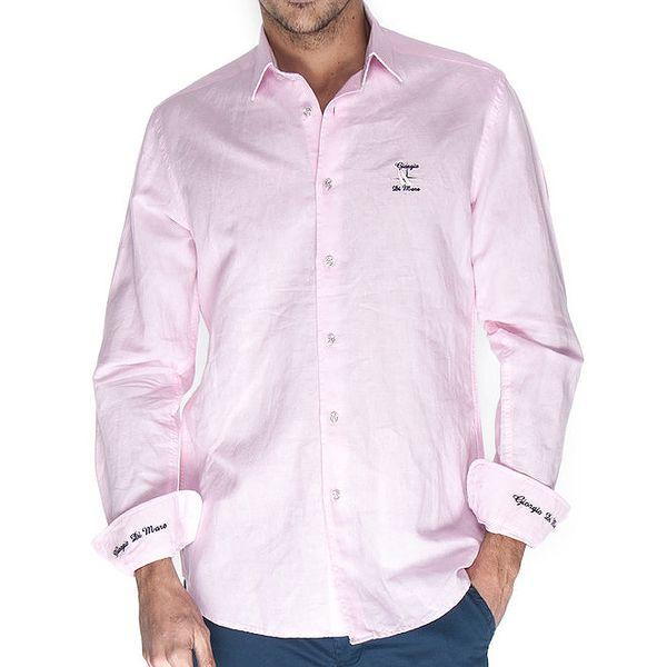 Pánská růžová lněná košile Giorgio di Mare