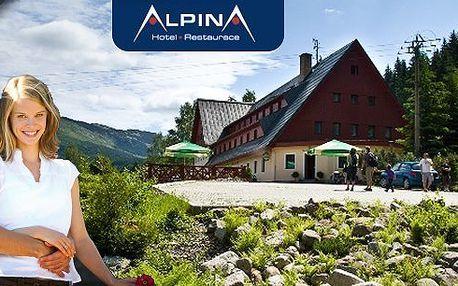 3 nebo 5 dní v hotelu Alpina*** Špindlerův Mlýn pro dvě osoby s polopenzí a obědovými balíčky jen 100 metrů od lanovky Hromovka. Navíc sauna, výletní vláček, kola a koloběžky !!! Využije náš nabitý balíček a užijte si léto v Krkonoších!