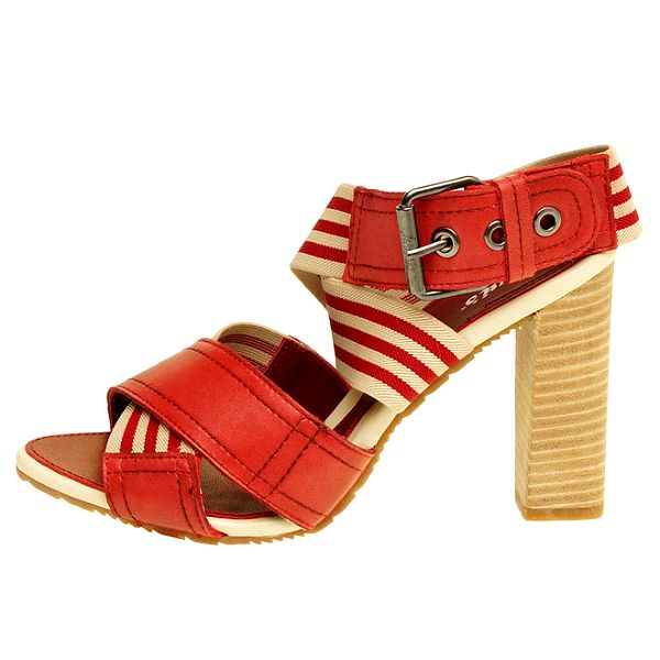 Dámské červeno-béžové sandálky na vysokém podpatku Levis