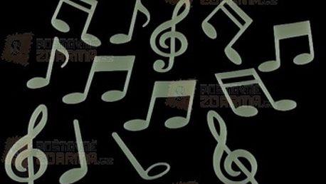 Fluorescentní nálepky na zeď s hudebním motivem - balení 15 ks a poštovné ZDARMA! - 13402534