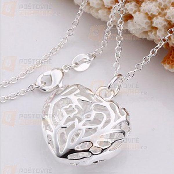 Náhrdelník se srdcem - stříbrný a poštovné ZDARMA! - 13507508