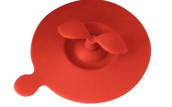 Silikonové víčko na hrneček - červené