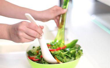 Plastové kleště na salát - bílé/zelené