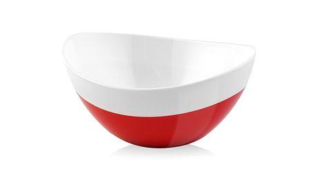 Bílo-červená miska Livio, 15 cm