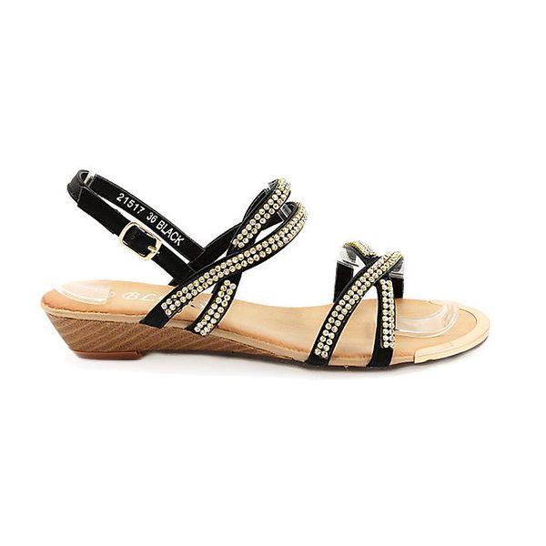 Dámské černé páskové sandály Bless