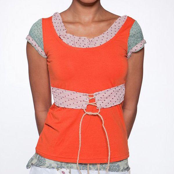 Dámské oranžové tričko s puntíkovanou šněrovačkou Ian Mosh