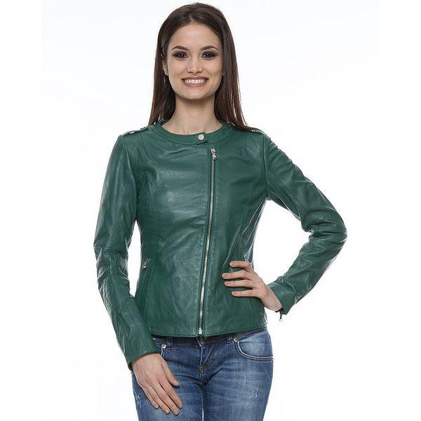 Dámská lahvově zelená kožená bunda Mangotti