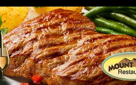 """Šťavnatý RUMPSTEAK COUNTRY zuruguayského býčka + příloha za skvělou cenu 385 Kč pro 2 osoby! 2x 300 g pravý rumpsteak z """"Heart of Rump"""" samerickými nebo šťouchanými brambory. Vychutnejte si specialitu vyhlášené restauracečeských celebrit MOUNT STEAK!"""