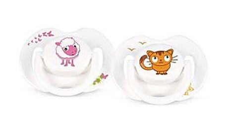 Dudlík se zvířátky 0-6m - 2ks (ovečka, kočička)
