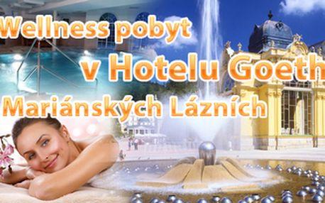 Mariánské Lázně na 3 dny - wellness pobyt pro DVA v 4* hotelu Goethe včetně polopenze a relax procedur pro každého. Vše za 3.299 Kč za oba