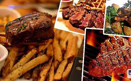 Užijte si vynikající XXL Mix Gril v Praze. 300 g steak z vepřové krkovice, 300 g steak z kuřecích prsíček, k tomu hranolky, pečené brambory, bramborové placičky, domácí omáčky ( barbeque, bylinková )!