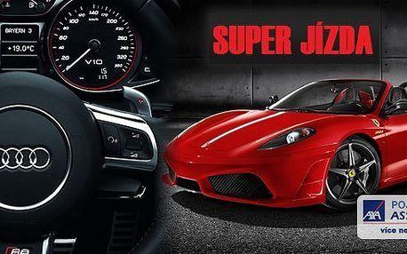 Super jízda v nadupaných sportovních vozech: Ferrari F430, Lamborghini Gallardo, Audi R8, Porsche 911 Turbo, Nissan GT-R. Vyzkoušejte si řídit auto vašich snů! Splňte sen sobě nebo blízkým, tato žihadla vám rozproudí krev v žilách - jízda až 300 km/hod.