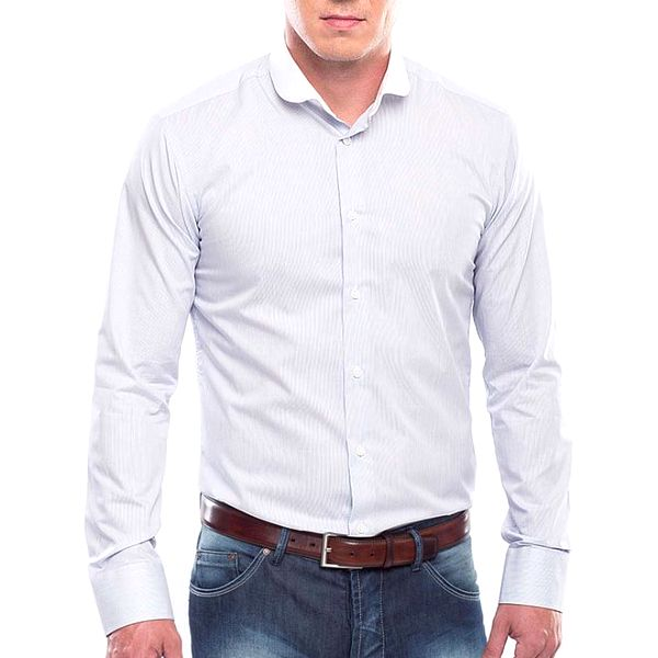 Pánská modrá košile s bílým proužkem Blažek