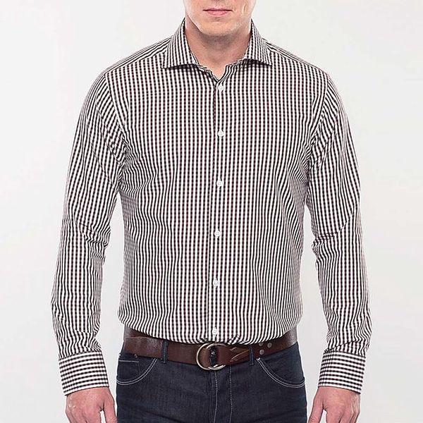 Pánská hnědě kostkovaná slim fit košile Blažek