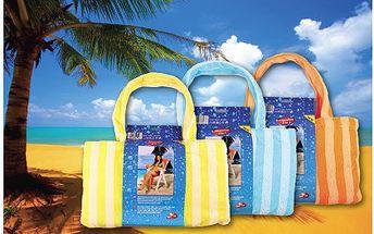 Rychleschnoucí osuška z mikrovlákna včetně plážové tašky. Osuška ze speciálního lehkého a tenkého mikrovlákna, která absorbuje 3krát rychleji než běžné froté ručníky a snadno se ždíme.